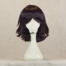 Medium flick cosplay costume wig in darkest purple, UK SELLER, Ash style
