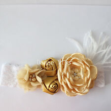 Satin & Chiffon LATTE GOLD Flowers Pearl Centres Feather HEADBAND on White Lace