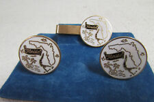 Tone Cufflinks & Tie Bar Set Vintage State of Florida White and Gold