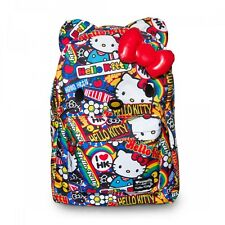 LOUNGEFLY School Bag SANRIO HELLO KITTY Backpack Nylon 3D BOW STICKERS CARTOON