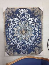 canvas BLUE SILVER TAUPE print 80 x 100 French baroque provincial stunning