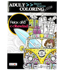 Adult Coloring Book Beach Scenes Relax and Rewind Bendon NEW