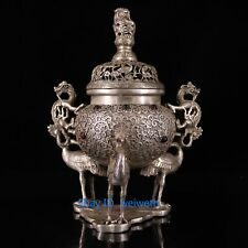 Collection Old Tibetan Silver Handwork Carved Three Cranes Statue Incense Burner