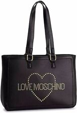NEWT AUTH LOVE MOSCHINO JC4070PP18LL100A BLACK GENUINE LEATHER TOTE  BAG