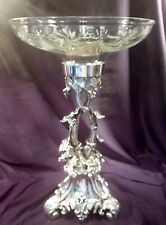 Large Ornate Silver Plate and Cut Glass Compote, Over 16 Lbs, Grape and Vine