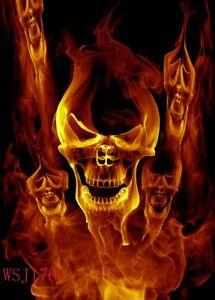 Polyester Photo Background 5x7FT Halloween Fire Smile Skull Studio Backdrop Prop
