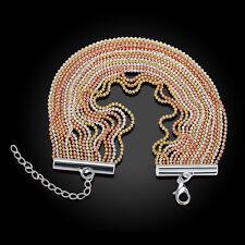 18K Yellow/Rose/White Gold Filled 3 Tone Fringe Woman Bracelet Bangle BL320