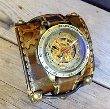 Leather Steampunk watch, Gear stamped watch, Men's skeleton watch, Leather gift