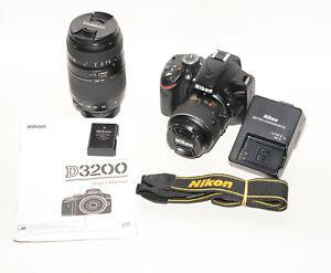 Nikon D3200 DSLR 2x lens 18-55mm + 70-300mm Shutter count 2.628 Very Good Cond