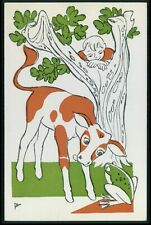 Bull and Frog Fairy tale original old 1950s postcard aa