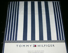 "Tommy Hilfiger Navy Blue & White Stripe 60 x 102"" Tablecloth--NWT"