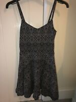 Topshop Black Dress Petite Size 4 Strappy Fit And Flare Patterned