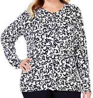 Charter Club Cardigan Sweater Plus Size 2X Blue White Print New