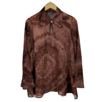 Hound Dog Womens Vintage Blouse Top Size Small Brown Psychedelic Long Sleeve