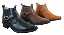 Mens Tan Brown Black Ankle Boots Leather Slip On Cowboy Western Riding Buckle