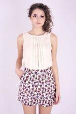 Polyester Floral Regular Size Shorts for Women