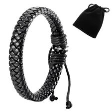 Leather Bracelet Bangle Cuff Rope Black Surfer Wrap Adjustable Men,Women+ 1 bag
