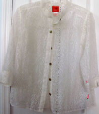 HEARTS OF PALM Size 6-White Sheer Lace Blouse-3/4 sleeve