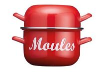 Kitchen Craft 18cm Red Moules Pan - 2.5L Mussel Cooking Pot for Mussels