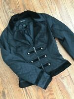 White House Black Market Victorian Steampunk Military Satin Quilted Jacket 0