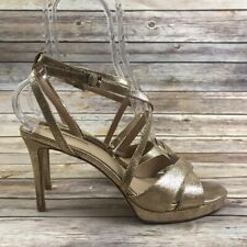 Antonio Melani Women's Gold Strappy Open Toe High Heel Sandal Shoes 9.5M -186