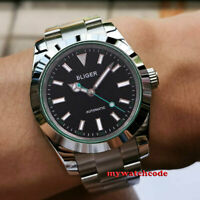 40mm bliger black dial solid case sapphire glass automatic mens watch green edge
