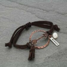 "Inspirational ""Be Brave"" Pearl Charm Faux Leather Arrow Theme Bracelet"