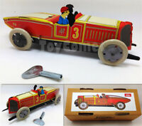 A-17 Red Vintage Race Car Number 3 Retro Clockwork Wind Up Tin Toy w/Box
