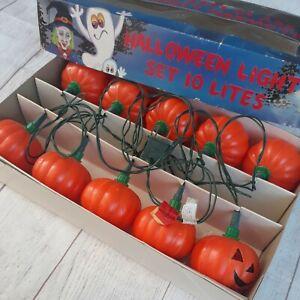 Vintage Halloween Jack O Lantern Mini String Lights Tested Works 1988 10 Lites