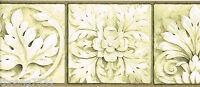 Architectural Antique Gold Cream Beige Leaf Rosette Frame Tile Wallpaper Border