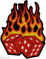 "FLAMING DICE EMBROIDERED PATCH  8 X 10CM (4"" X 3"")"