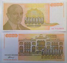YUGOSLAVIA 1994 500,000 DINARA UNC BANKNOTE P-143 JOVAN CVIJICH FROM USA SELLER