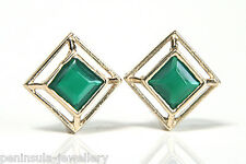 9ct Gold Green Agate Square Stud earrings Made in UK Gift Boxed studs