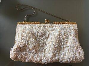 Vintage Salisburys Pandora Empire Made Beaded & Sequin Evening Bag Purse Gold