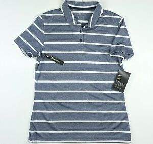 Nike Women Victory Stripe Dri Fit Golf Polo Shirt AJ5231-451 Small $55