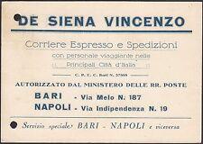 AA4828 De Siena Vincenzo - Corriere espresso - Bari - Cartolina pubblicitaria