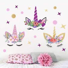 Angel Unicorn Flower Wall Decal Star & Dots Eyebrow Wall Sticker Kids Room Decor