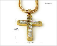 Unisex 18K Gold Plated Chain Necklace Clear CZ Micro Jesus Crucifix Pendant UK