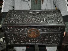 Chinese Rosewood carved Feng shui Beast pattern lucky statue Storage box cabinet