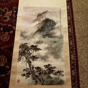 Oriental Scroll Watercolor Painting