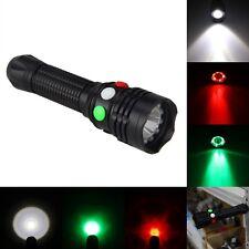 3000LM Q5 LED Rot Grün Weiß Taschenlampe Strobe Signal 18650 Akkru Light 3-Modus