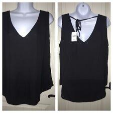 New Women Ex Brand Off White Frill Self Tie Neck Pleated SleevelessTop Size 8-20