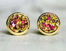 GOLD SPARKLING DRUZY RESIN PINK/GOLD ROUND CLIP ON EARRINGS 12MM