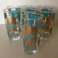 Steamboat Highball Glasses // Set Of Seven // Vintage Libbey // Gold & Turquoise