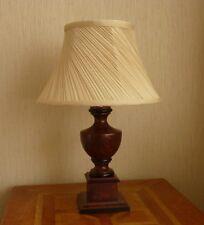 TABLE LAMP DARK WOOD NEUTRAL SHADE