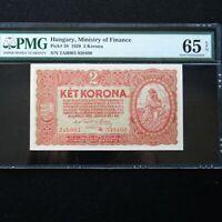 1920 Hungary 2 Korona, Pick # 58, PMG 65 EPQ Gem Unc.