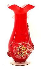 "Vintage Style Red ART GLASS VASE Multicoloured Flower Design 9.5"" Unusual - M33"