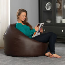 Bean Bag Bazaar Luxury Faux Leather Panelled XL Chair - Brown Extra Large Bags