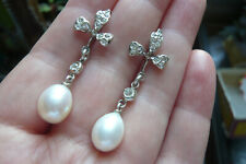 Edwardian Style Paste, Pearl and Silver Drop Earrings