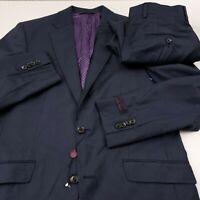 Ted Baker Endurance Jones CT Wool 2pc Suit Jacket Pants Mens 40R X 29 Blue